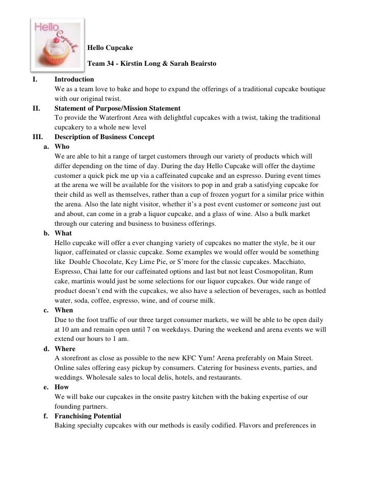 Business Plan Sample About Bakeshop – Short Business Plan Template