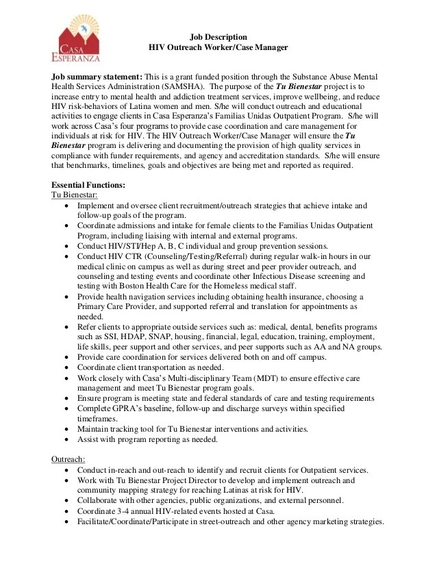 resume summary examples outreach worker