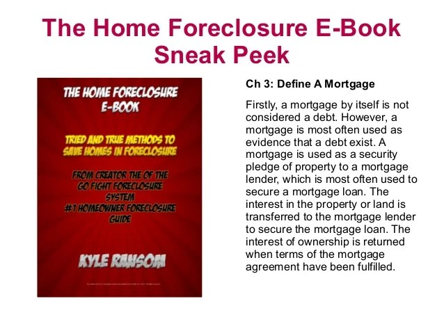Home Foreclosure E-Book Sneak Peek