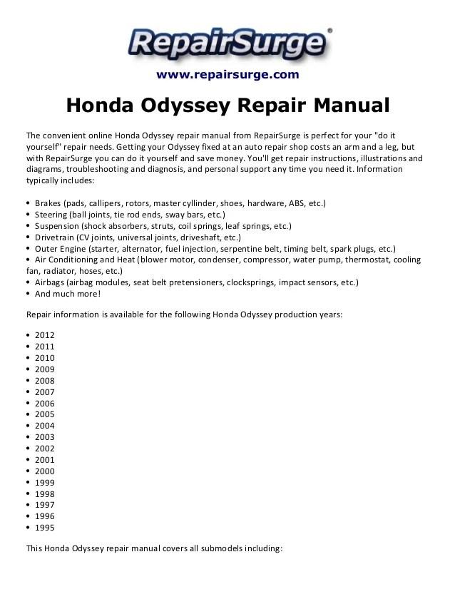 1996 Honda Odyssey Alternator Wiring Diagram - Simple Wiring Diagrams