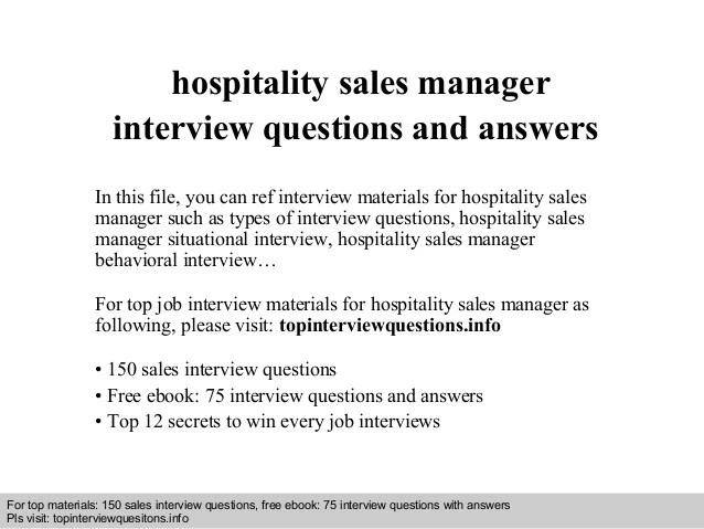 hospitality management interview questions and answers - Toma