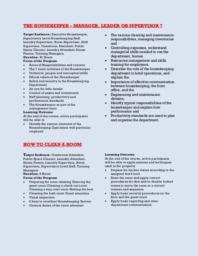 housekeeping skill - Minimfagency - linen attendant sample resume