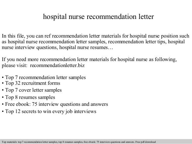 Sample School Leave Letter Sample Letters Hospital Nurse Recommendation Letter
