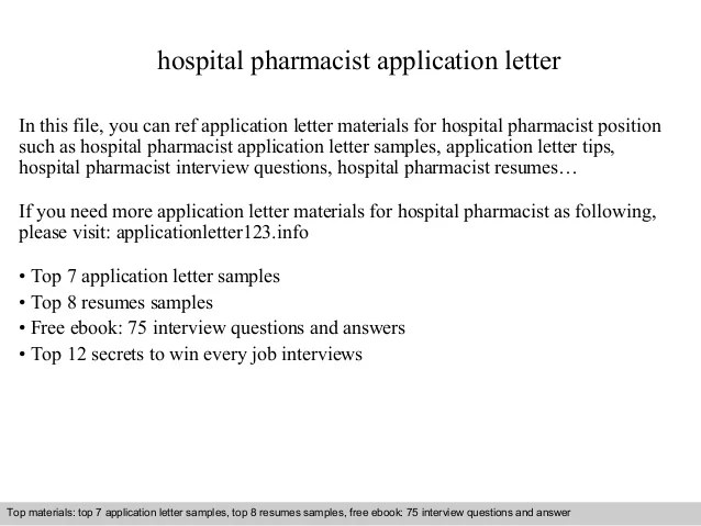 pharmacist cover letter templates - Josemulinohouse