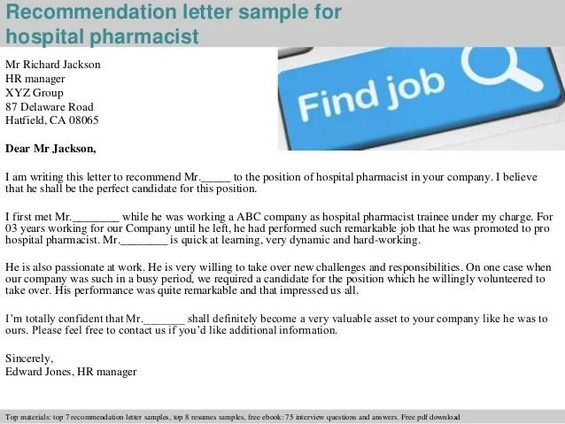 Free Sample Letter Of Recommendation Medical School Hospital Pharmacist Recommendation Letter