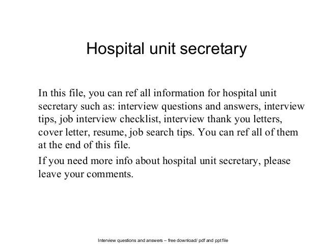 Unit Clerk Resume Del Mar College Coordinator Training Program Hospital Secretary