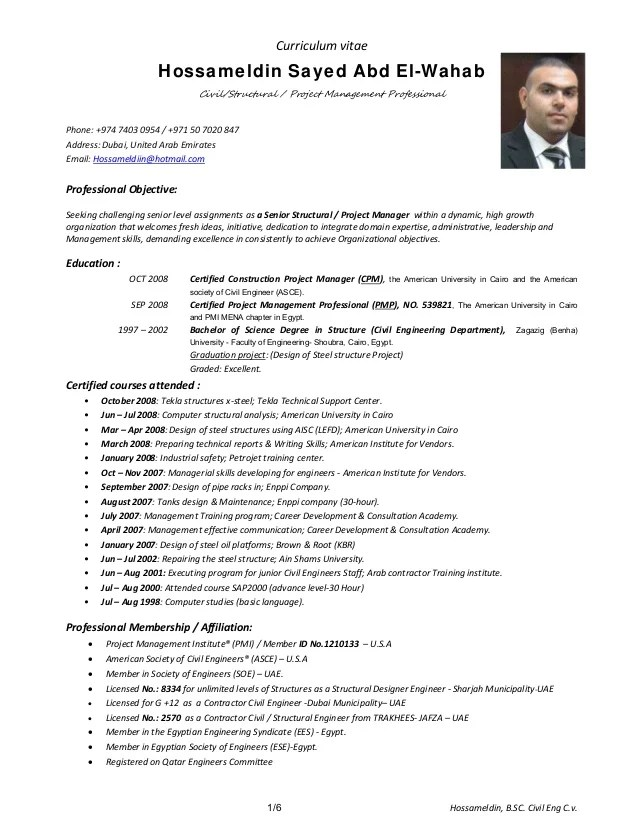 Submit Cv Mpc Recruitment Group Hossamcivil Structural Engineer Cover Lettercv Resume 3