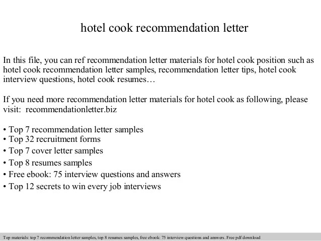 Sample Of Recommendation Letter For Employee Sample Letters Hotel Cook Recommendation Letter