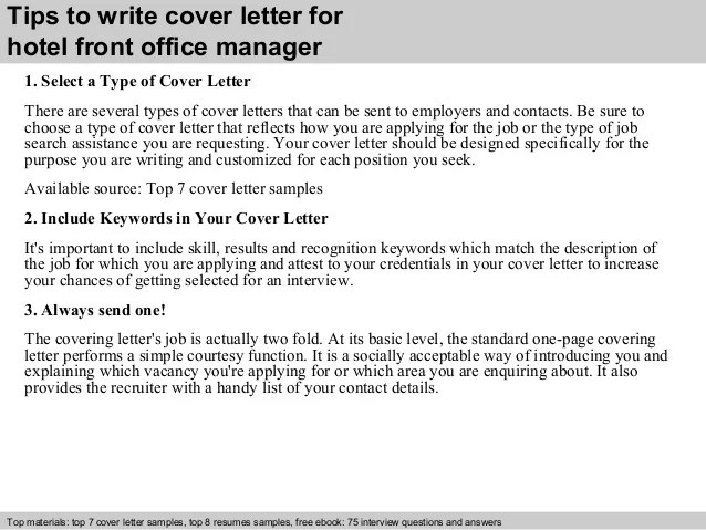 Best Office Manager Cover Letter Examples Livecareer Hotel Front Office Manager Cover Letter