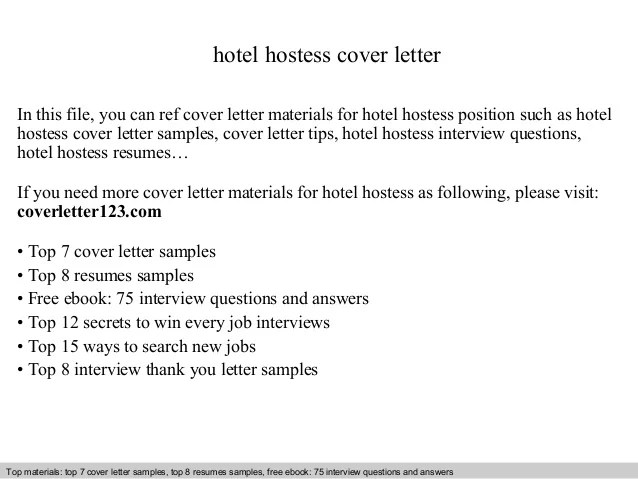 cover letter for a hostess position - Canasbergdorfbib