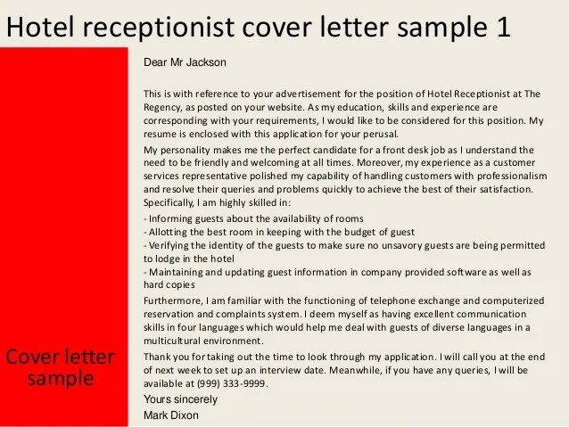 Hotel Receptionist Resume Best Sample Resume Hotel Receptionist Cover Letter