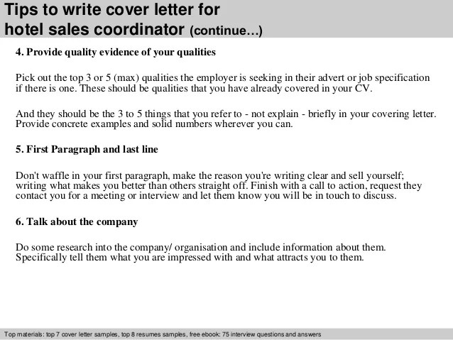 cover letter for hotel sales coordinator