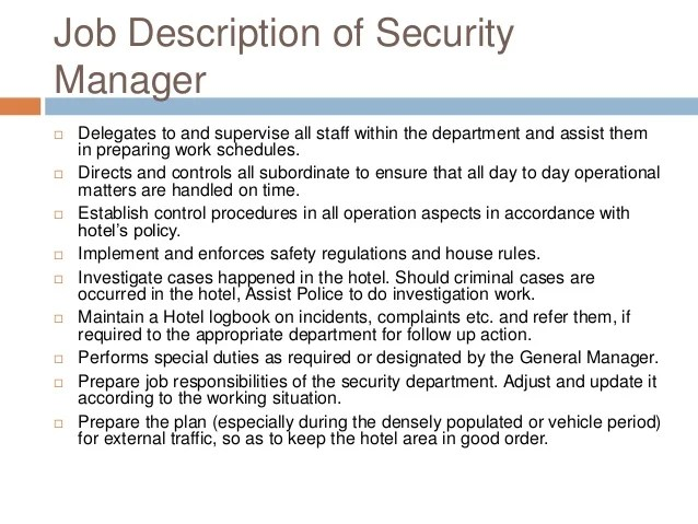 Job Description For Guest Service Manager  How To Write A