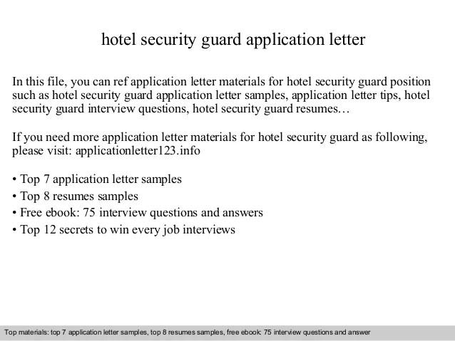 sample hotel security resume - Selol-ink