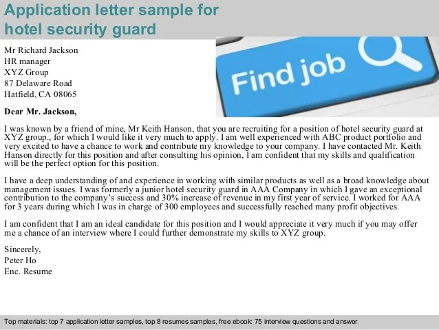 Sample Of Job Application Letter With Letter Writing Tips Hotel Security Guard Application Letter