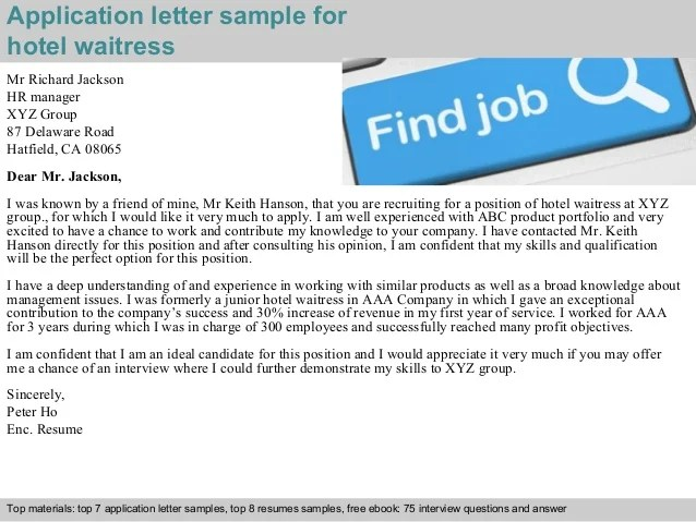 Sample Letter Of An Application To The Bank Manager To Hotel Waitress Application Letter