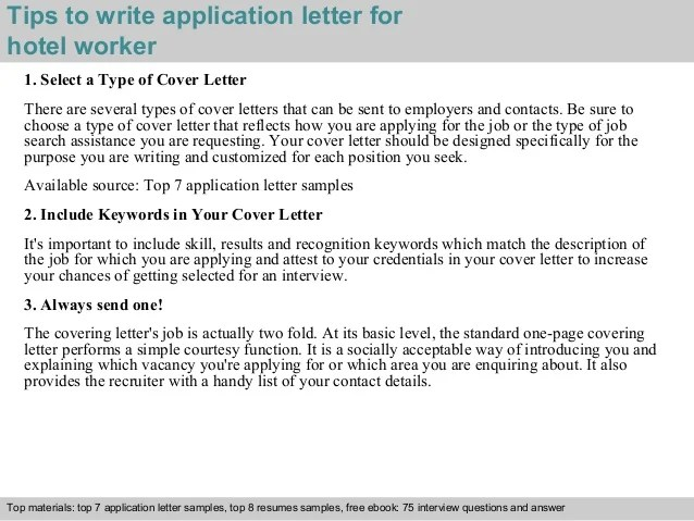 Sample Cover Letter For A Hotel Job Livecareer Hotel Worker Application Letter