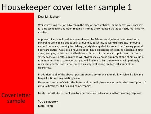 housekeeper cover letters