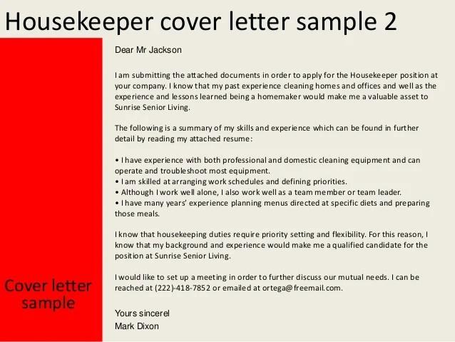 Sample Cover Letter For A Hospital Livecareer Housekeeper Cover Letter
