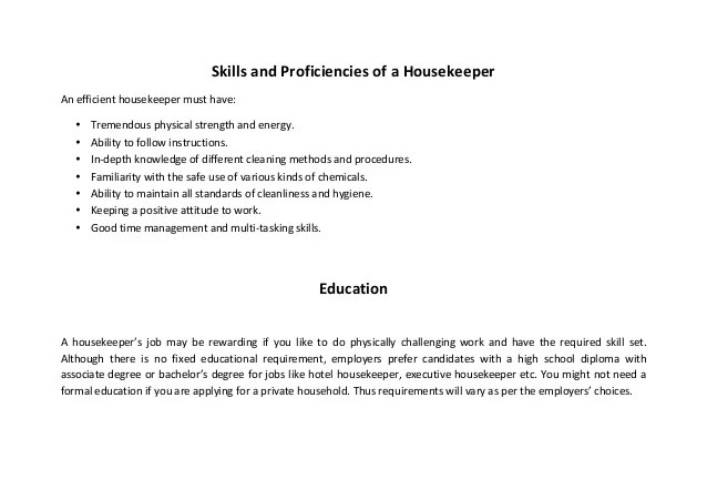 housekeeper resumes - Funfpandroid - Housekeeping Resumes