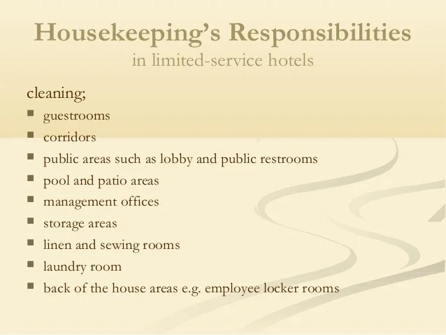 housekeeping responsibilities - Akbagreenw