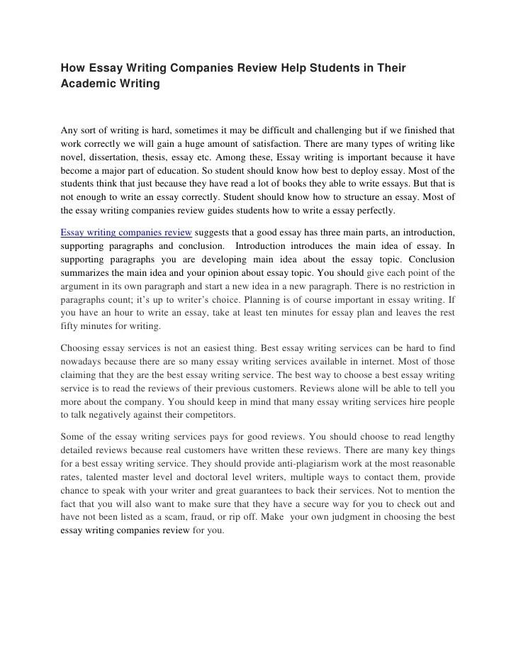Essay Writing Company Reviews