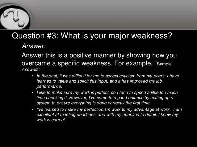 strengths and weaknesses interview questions - Josemulinohouse