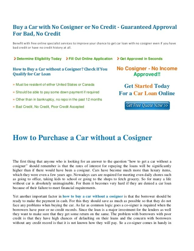 How to Buy a Car Without a Cosigner