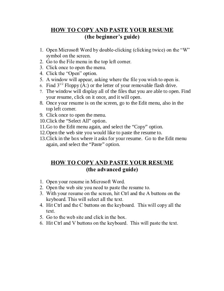 free resume templates you can copy and paste copy and paste your plain - Copy And Paste Resume Templates