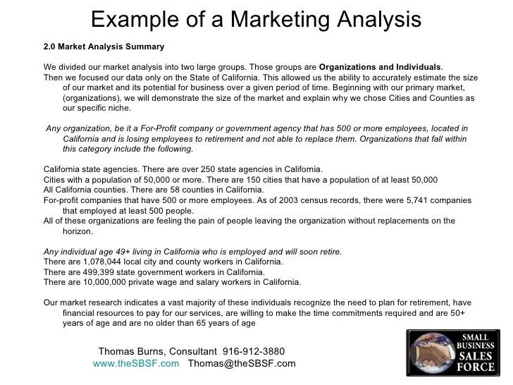 marketing analysis example - Boatjeremyeaton - market analysis sample
