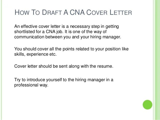 sample cover letter for cna resume - Koranayodhya