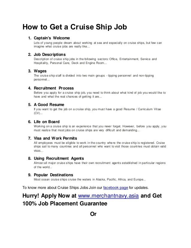 resume sample for cruise ship jobs