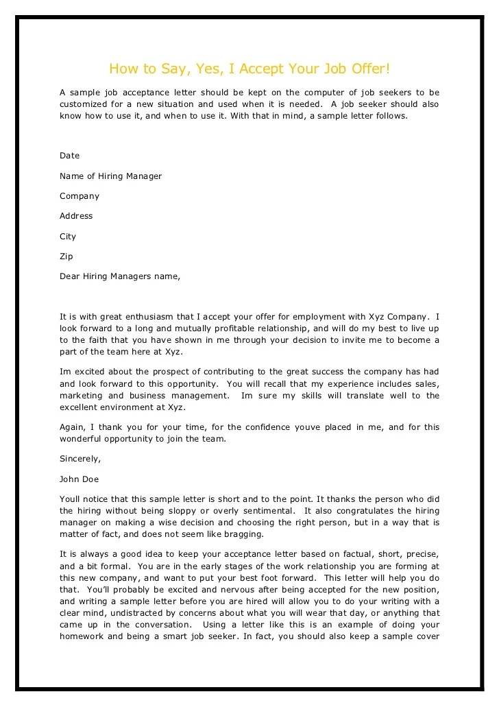 Sample Real Estate Offer Letter Letter Format How To Say Yes I Accept Your Job Offer