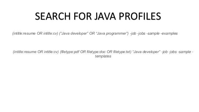 java developers resumes