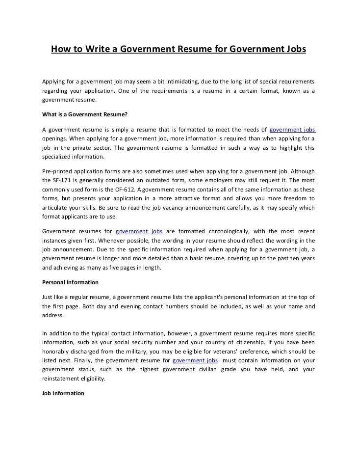 government jobs resumes - Elitaaisushi
