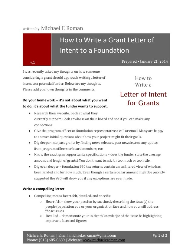Sample Letter Of Recommendation Letter Samples How To Write A Grant Letter Of Intent To A Foundation