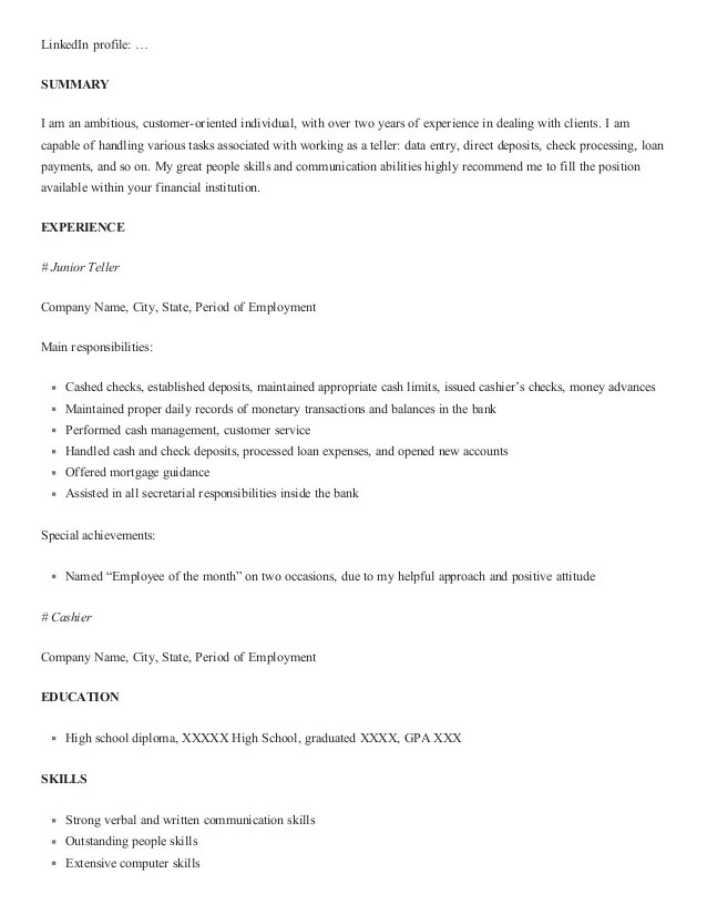 one of recommended banking resume examples to learn border patrol - Bank Teller Resume Sample