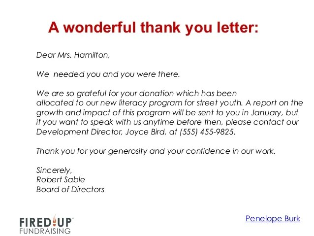 fundraising thank you note - Boatjeremyeaton - Thank You Letters For Donation