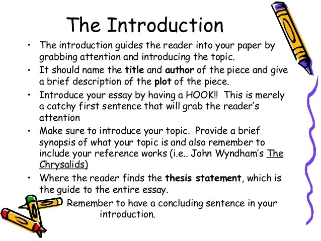 Examples of introductions for essay