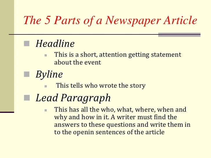 How to write a newpaper article