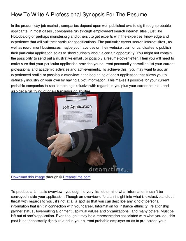 professional synopsis for resumes