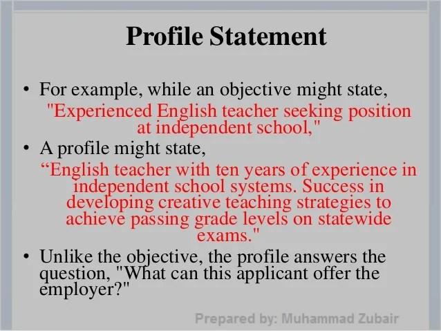 profile statement for resume examples - Pinarkubkireklamowe