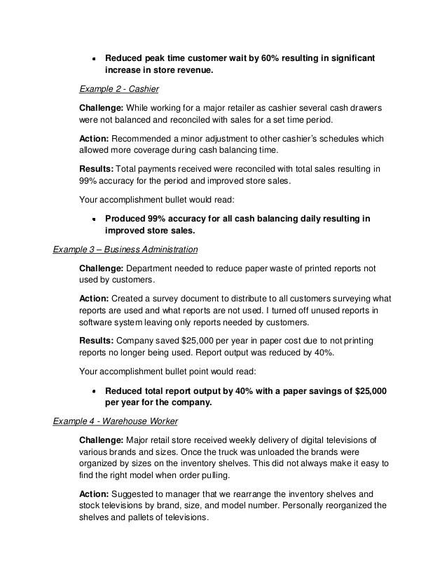 job accomplishments sample - Ozilalmanoof - resume achievements samples