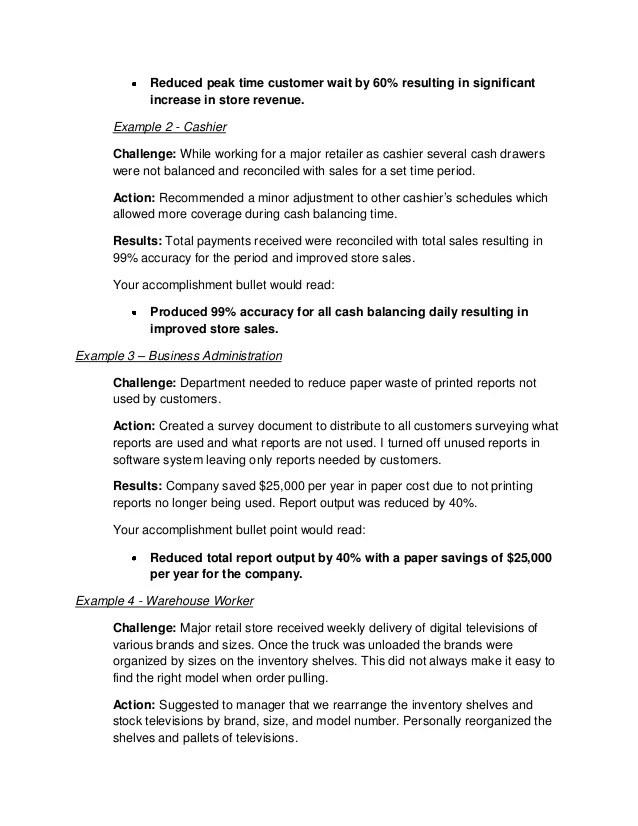 Resume Examples Accomplishments Free Resume Examples Job Type Career Level And Industry How To Write Job Accomplishments