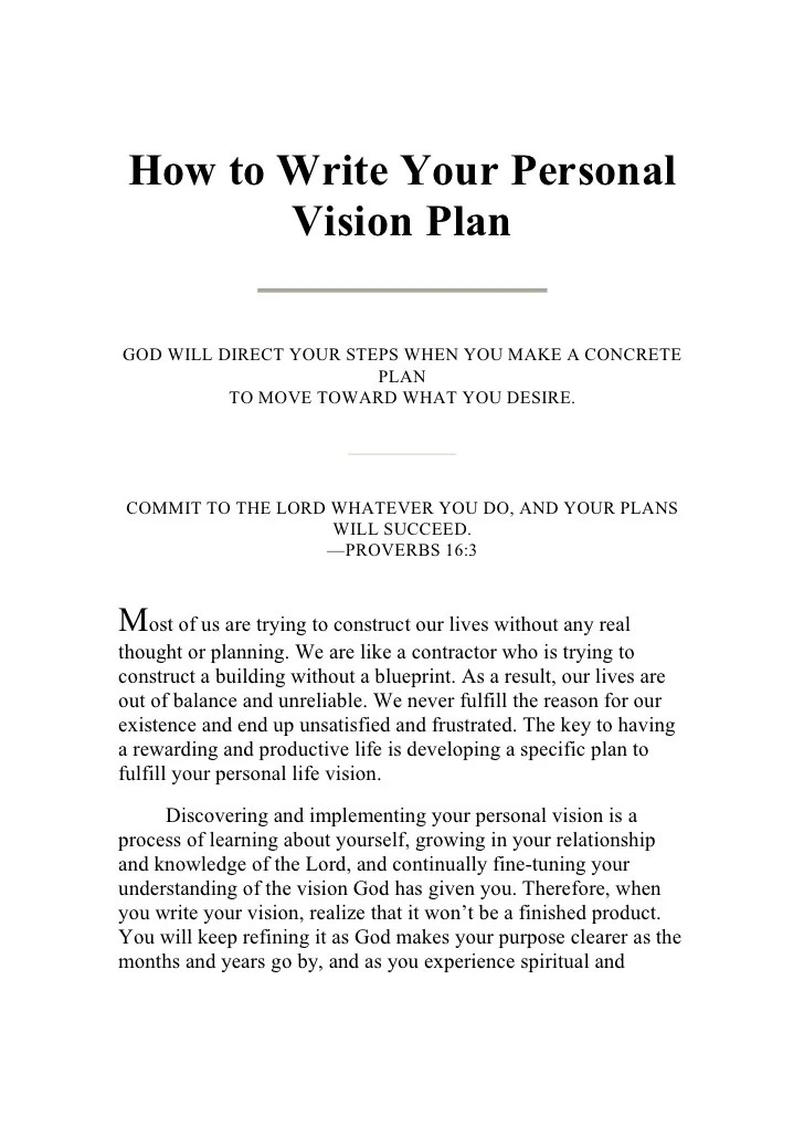 How to write a personal vision statement examples   What to write on a ...