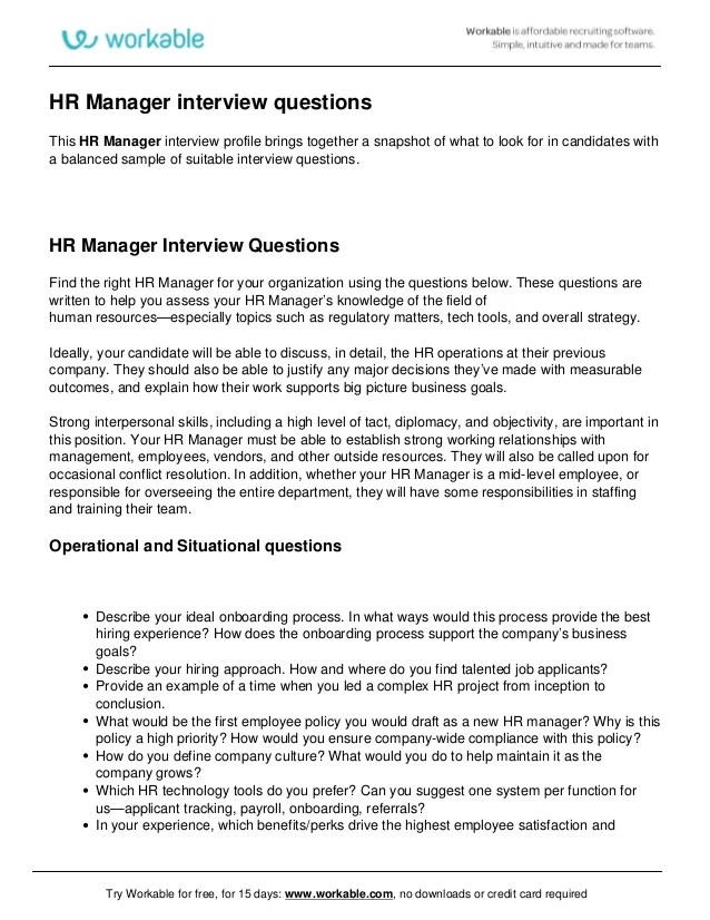 human resources manager interview questions - Selol-ink