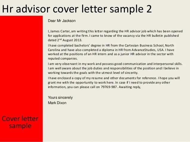 hr advisor resume cover letter