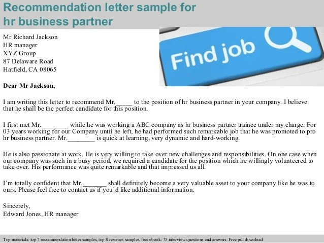 Hr Business Partner Recommendation Letter