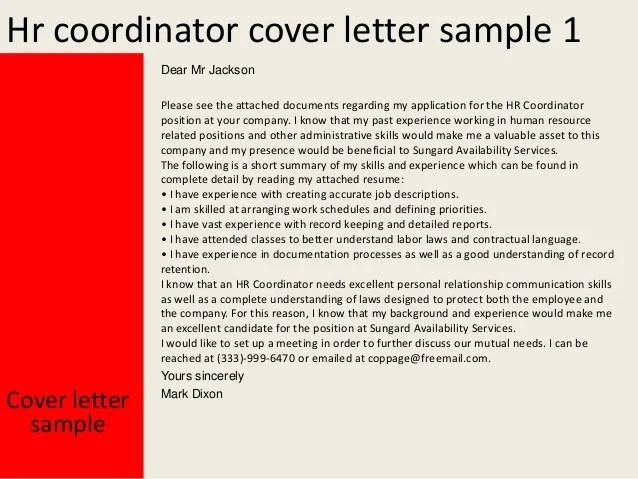 human resource coordinator cover letter