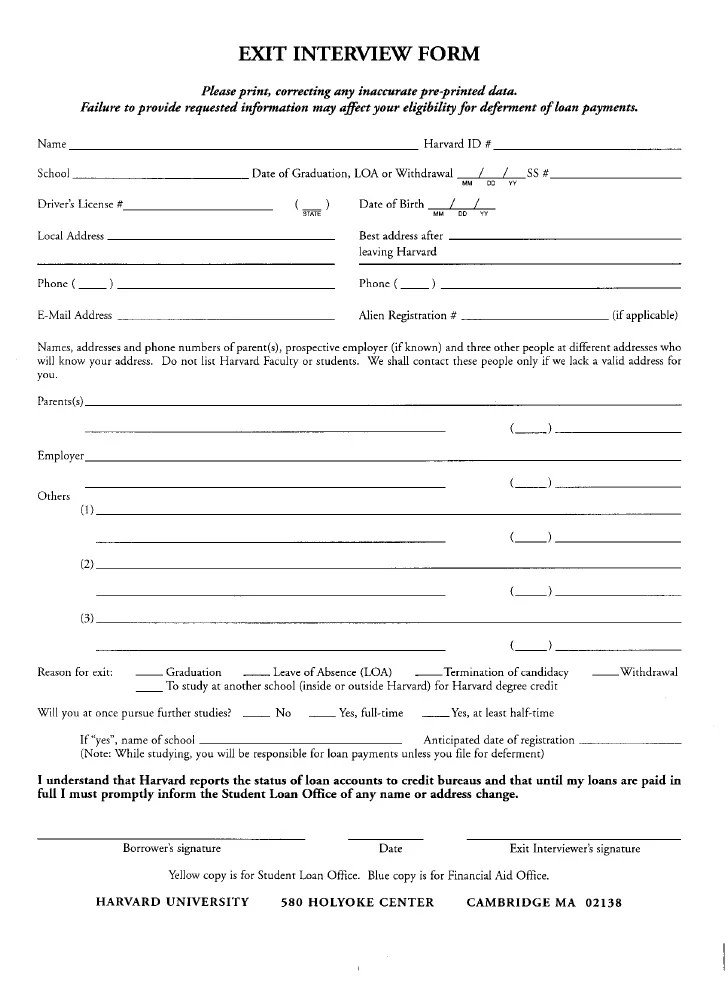 Exit Interview Evaluation Form – Sample Hr Form